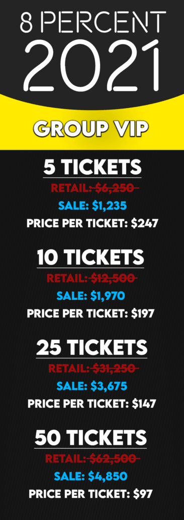Group VIP Ticket Pricing Table